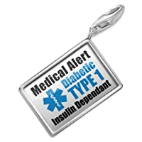 "NEONBLOND Charms Medical Alert Blue ""Diabetic Insulin Dependant TYPE 1"" - Bracelet Clip On by NEONBLOND Jewelry & Accessories"