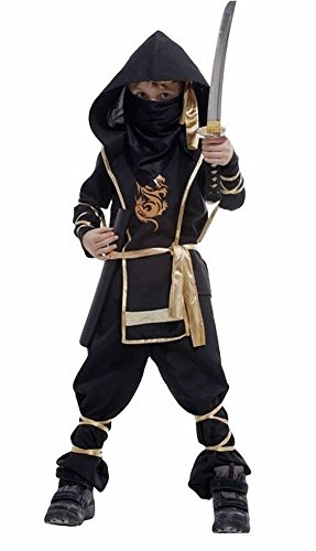 [POJ Japanese Ninja Costume [ 5 / 6-7 / 8US Size Black for Kids ] Japan Cosplay Halloween (6-7US)] (Japan National Costume For Kids)