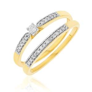 Ensemble Bague de fiançailles et alliance - Femme - Or jaune (9 cts) 3.65 Gr - Diamant - T 58
