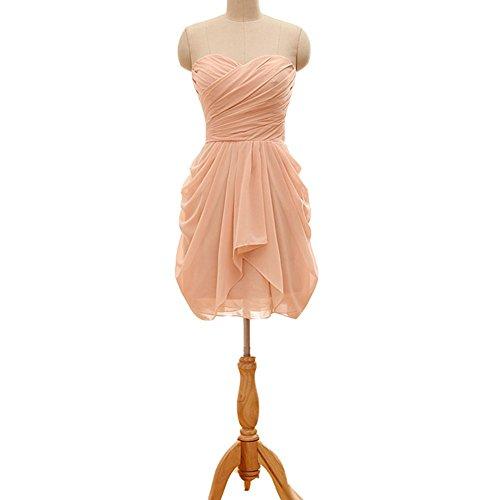 Kivary Sweetheart Short Knee Length Corset Chiffon Homecoming Bridesmaid Dresses Peach US8 (Peach Color Bridesmaid Dresses compare prices)