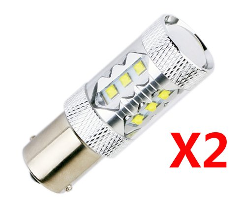 S&D 2Pcs/One Pair 80W Cree Led 16 Chips Auto/Car/Truck/Vehicle Head Signal Turn Brake Parking Tail Drl Fog Lights Bulb Lamp Light Source, High White, 6000K, 1600-2000Lm,Free Shipping, Compatible With: 1156 Ba15S 1073 1093 1129 1141 1159 1680 3497 5007 500