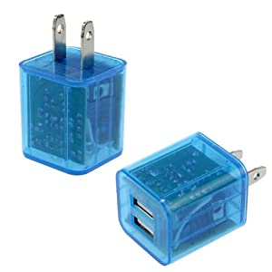 TPT Shiny LED Flashing Lights Dual Port USB Wall Charger foriPhone, iPod, iPad, MP3, MP4 or cell phone. (Blue)