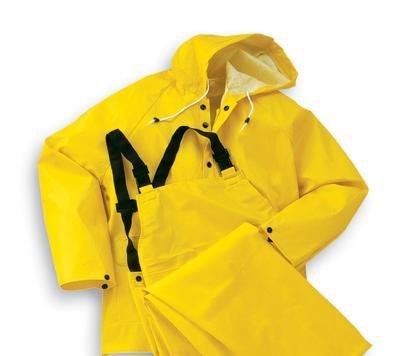 Bata/Onguard X-Large Yellow Webtex .65mm Ribbed PVC On Polyester Webtex Rain Jacket With Hood Snaps