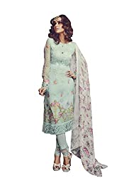 Namrah Collection Women's Georgette Embroidered (4002, Light Blue)
