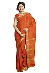 Kaushika Sarees Pure Crepe Traditional Mysore Silk Rust Saree