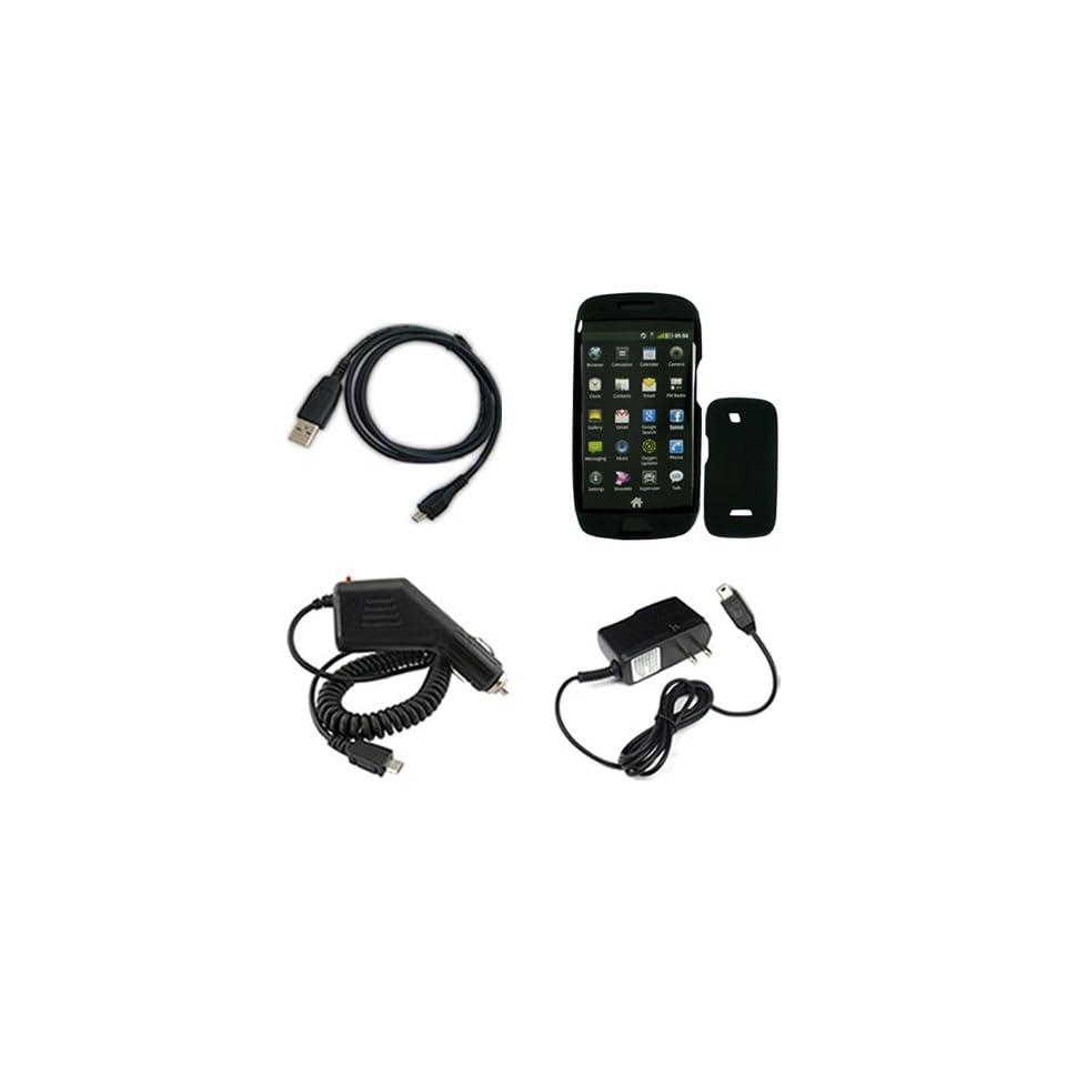 iNcido Brand Samsung Sidekick 4G Combo Solid Black Silicone Skin Case