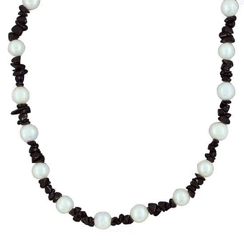 925 Sterling Purity Silver Fabulous & Beautiful Black Onyx South Sea Pearl Gemstone Beads Strand Necklace Jewelry