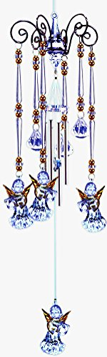 Harp Playing Guradian Angels -Golden Winged Chandelier Wind Chime- Mobile Style, 3 Acrylic Prisms Creates a Sparkling Colorful Effect in Bright Sunlight, Indoor - Outdoor Decor 20 Inches (Wind Mobile compare prices)
