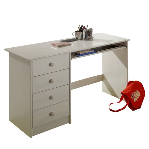 chambre denfant bureau enfant en pin lasur blanc avec 4 tiroirs. Black Bedroom Furniture Sets. Home Design Ideas