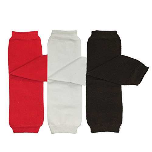 Bowbear Baby 3-Pair Leg Warmers, Solids in Red, White, Black