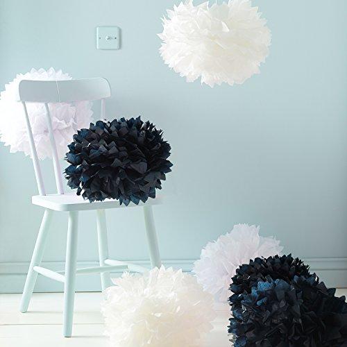 9er Set Seidenpapier PomPoms schwarz weiß crème Hochzeit Party Deko