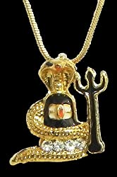 DollsofIndia Gold Plated Pendant - Shivalinga Encompassed by a Snake with a Trident - Metal - Golden, Yellow
