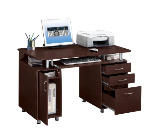 Techni Mobili Super Storage Computer Desk in Chocolate Finish