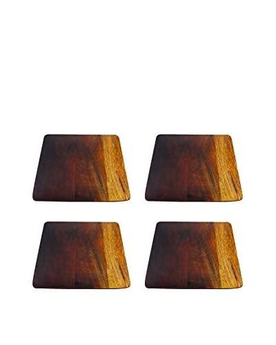 Be Home Set of 4 Ombre Mango Wood Large Plates, Brown