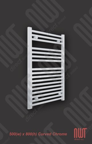 500 x 800 Heated Towel Rail / Radiator / Warmer - Straight WHITE 1402 BTU's