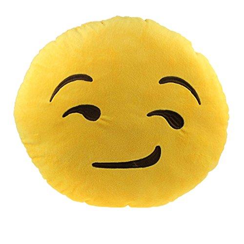 Ukamshop niedlich emoji smiley Kissen Weichen Cartoon gelb Kissen Spielzeug (grinsend)
