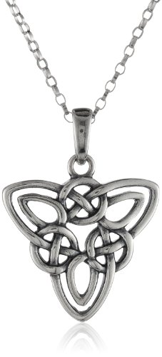 Sterling Silver Celtic Triquetra Knot Triangle Pendant Necklace, 18″