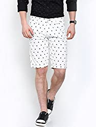 Showoff Men's White Slim Fit Printed Casual Chino Shorts