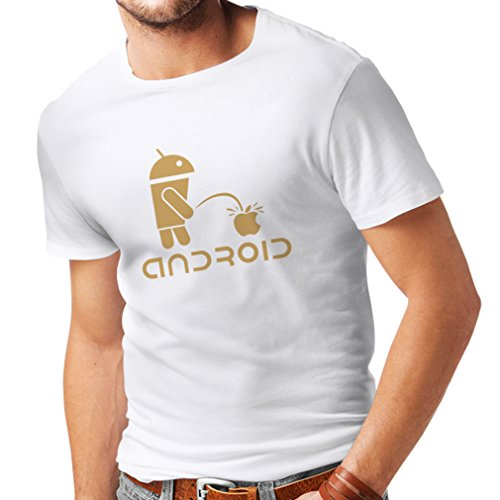 N4247 Mens T shirts Funny Robot and apple (X-Large White Gold) (Droid Developer Phone compare prices)