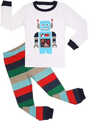 BOOPH Boys Pajamas 2 Piece Long Sleeve Pajama Set 100% Cotton Sleepwear 2T-7T (5T, white robot) (Robot 5t compare prices)