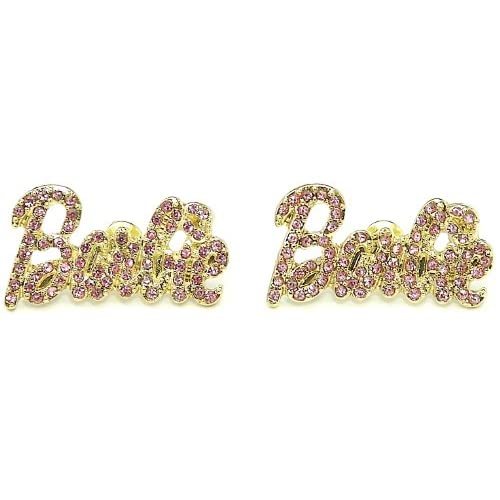 Nicki Minaj Barbie Iced Out Crystal Earrings Gold Color With All Pink Rhinestones