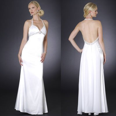 2009 Style A-Line Simple Ivory A-Line Halter Chapel Train Beading
