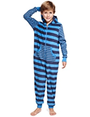 Hooded Striped Fleece Onesie