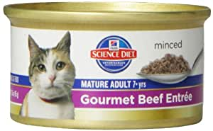Hill's Science Diet Mature Adult Gourmet Beef Entree Minced Cat Food, 3-Ounce Can, 24-Pack