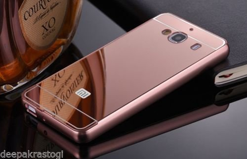 MACC Luxury Aluminium Bumper With Mirror Acrylic Back Cover For Xiaomi Redmi 2S / Redmi 2 Prime - ROSEGOLD