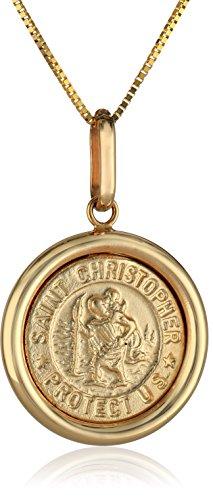 14k Yellow Gold Italian Saint Christopher Round Medal Pendant Necklace, 16