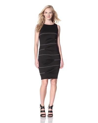 Nicole Miller Women's Ponte Knit Seamed Sheath Dress  [Black/Charcoal Stitching]