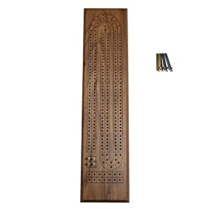 WE Games Classic Cribbage Set - Solid Walnut Wood Continuous 2 Track Board with Metal Pegs