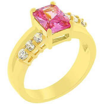14K Gold Bonded Pink Ice Cubic Zirconia Anniversary Ring