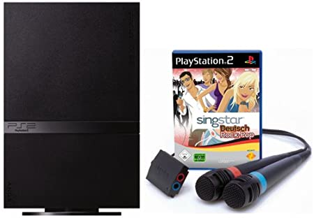 PlayStation 2 - PS2 Konsole, black inkl. SingStar Deutsch Rock/Pop + 2 Mikrofone