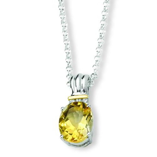 Ster Silver 14K Gold IJ|Yellow Diamond & Citrine Pendant