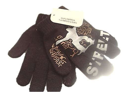 BOYS BLACK MAGIC GLOVES WITH STREET SKATEBOARD GRIPPERS kids childrens childs