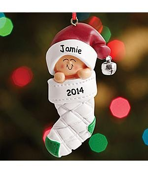 Personalized Ornaments - Baby In Stocking Ornament - New Baby Gift