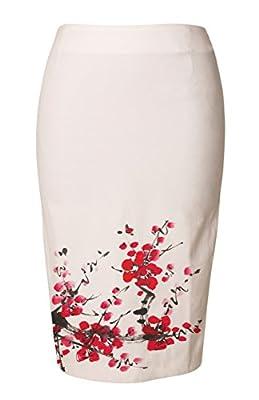 Vietsbay's Cherry Blossom Women Wear to Work Straight Pencil Skirt Sz 0-18