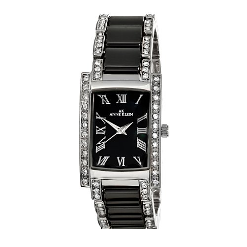 AK Anne Klein Women's 109195BMBK Swarovski Crystal Accented Silver-Tone Black Ceramic Watch