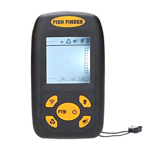 Kry Sondeur portable écran LCD Profondeur poisson alarme Finder Sondeur 100M transducteur ronde avec 25m Câble wylyxf-01