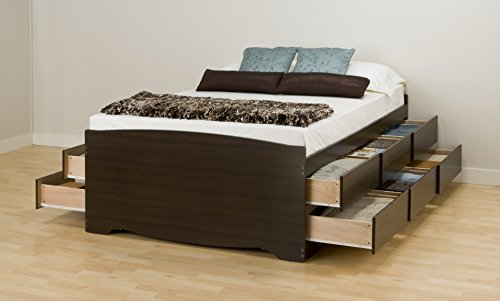 Espresso Tall Queen Captain's Platform Storage Bed with 12 Drawers (Storage Bed Frame Queen compare prices)