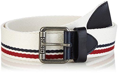Hilfiger Denim Herren Gürtel Striped webbing belt 6, Gr. 85 cm, Weiß (MARSHMALLOW-PT 105)