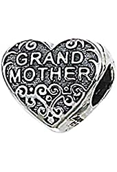 "Genuine Zable (TM) Product. 925 Sterling Silver ""Grandmother"" Heart Bead Charm. 100% Satisfaction Guaranteed."