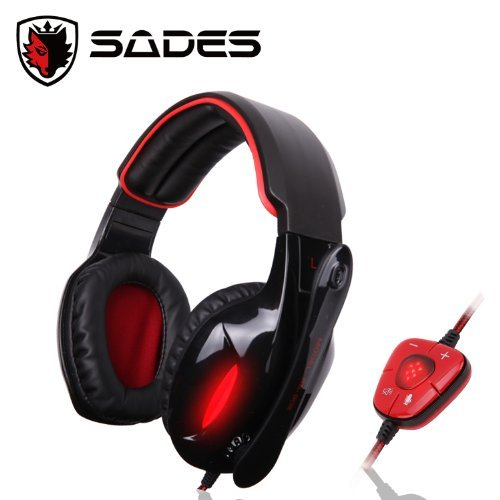 sades sa 902 casque jeuvideo surround 7 1 usb avec micro pour pc design couleur noir et rouge. Black Bedroom Furniture Sets. Home Design Ideas