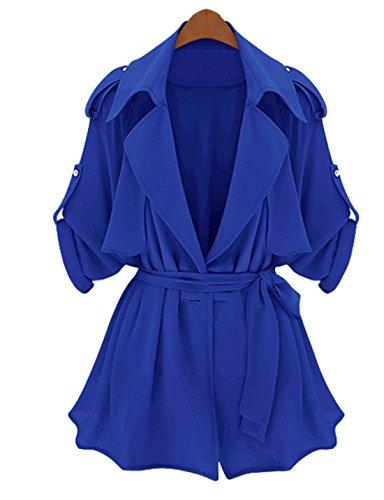 Yacun Women's Fashion Solid Color Bat Sleeve Trench Coat Plus Size-Blue,Size 10