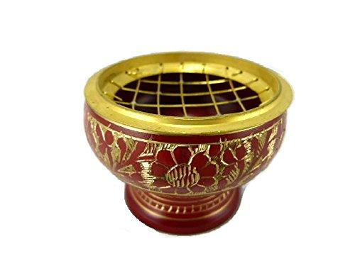 Incensario de cerámica latón rojo 7 cm