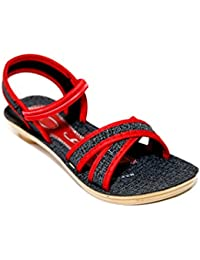 FU-ZONE Women's PU Black, Red Sandals