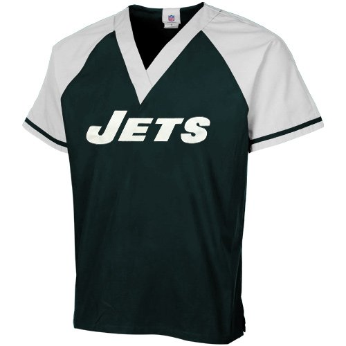 NFL New York Jets Green-White Raglan Color Block Scrub Top (Medium) at Amazon.com