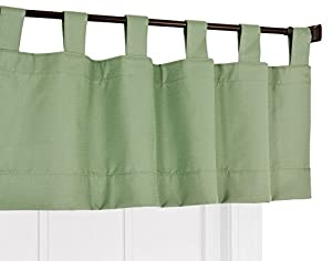 Ellis Curtain Crosby Thermal Insulated Tab Top Foamback Valance, Sage