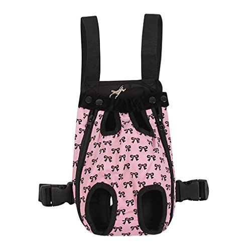 FakeFace Fashion Bowknots Pattern Pet Dog Doggy Sling Legs Out Design Outdoor Travel Durable Portable Front Chest Pack Carrier Backpack Shoulder Bag For Dogs Cats Puppy Carriers Pet Tote Bag – Pink,L